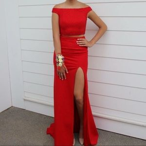 2 Piece Red Prom Dress
